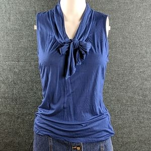 Ann Taylor Sleeveless Blouse Tie Neckline